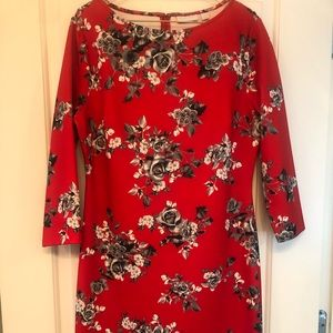 NY & Co. red and black flowered dress